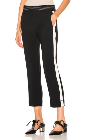 Chloe Light Cady Striped Trousers in Black