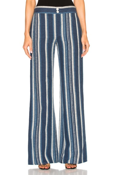 Chloe Striped Canvas Trousers in Raye Blue