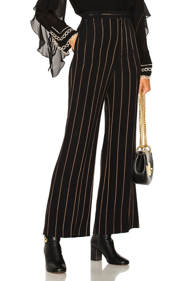 Lurex Stripe Jacquard Wide Leg Pants