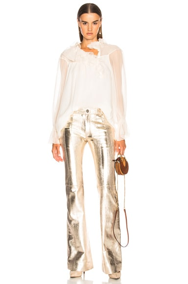 Metallic Texturized Leather Flared Pants