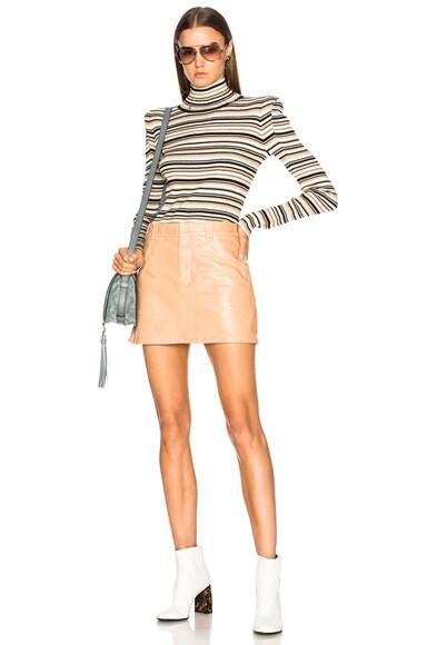 Shiny Crackled Leather Mini Skirt