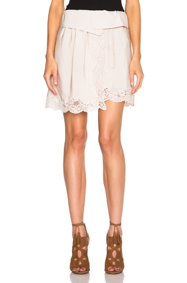 Chloe Lace Detail Skirt in Alabaster