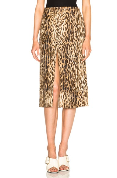 Chloe Printed Leopard Jacquard Skirt in Multicolored Tawny