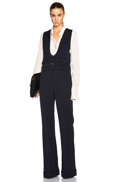 Chloe Wool Twill Tailoring Jumpsuit in Navy