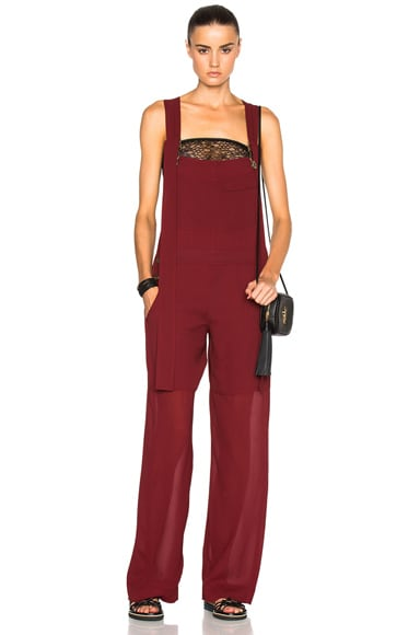 Chloe Fine Sheer Crepe Jumpsuit in Burgundy