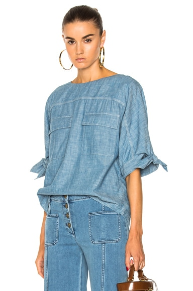 Chambray Tie Sleeve Top in Chamb