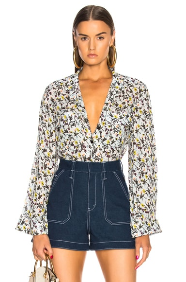 Floral Print Collarless Shirt