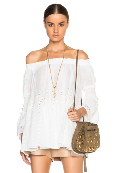 Chloe Embroidered Cotton Voile Top in Milk