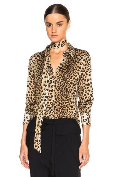 Chloe Leopard Print Jersey Blouse in Tawny Multi