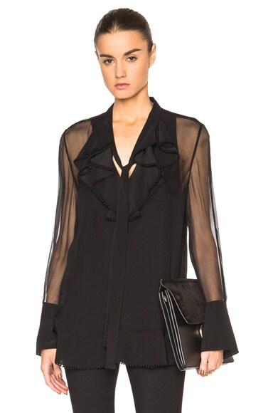 Chloe Silk Crepon Ruffle Blouse in Black