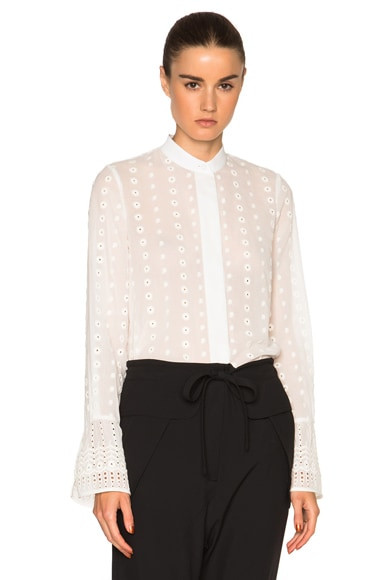 Chloe Embroidered Cotton Voile Blouse in Milk
