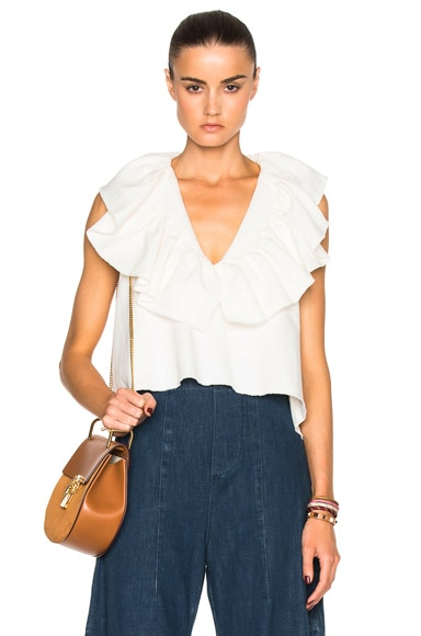 Chloe Washed Cotton Linen Blouse in Milk
