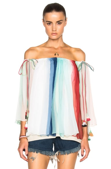 Rainbow Silk Crepon Blouse