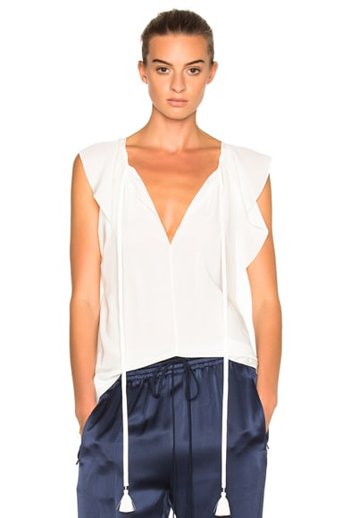 Chloe Crepe De Chine Top in Milk