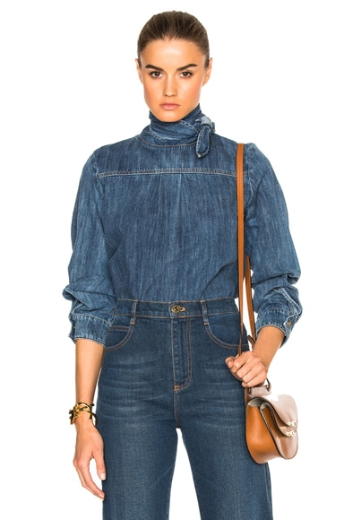 Chloe Light Denim Top in Blue