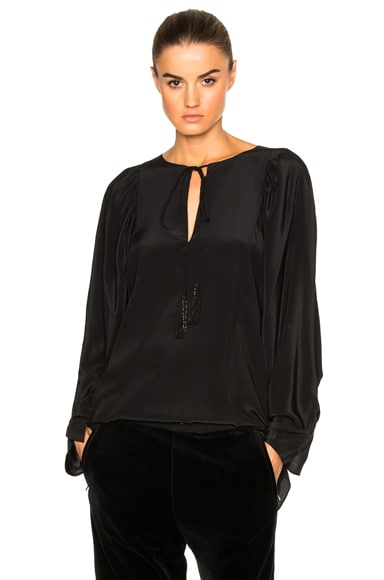 Chloe Crepe de Chine Blouse in Black
