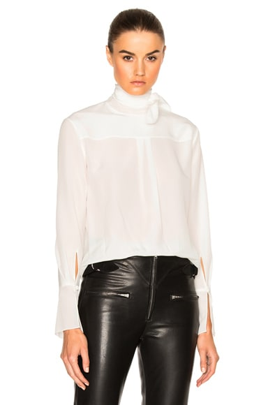 Chloe Tie Neck Blouse in Milk