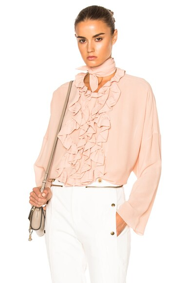 Chloe Silk Georgette Blouse in Tender Pink