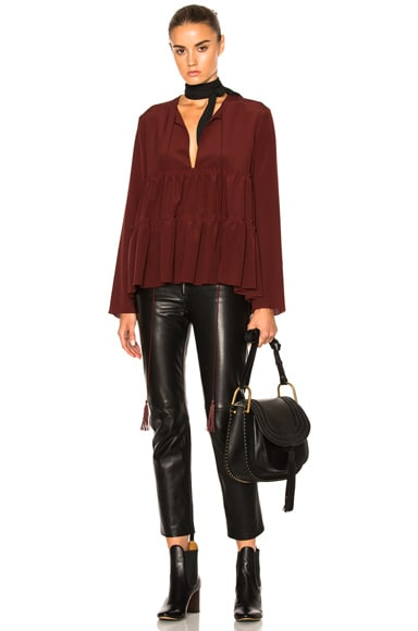 Chloe Crepe De Chine Tie Blouse in Burgundy