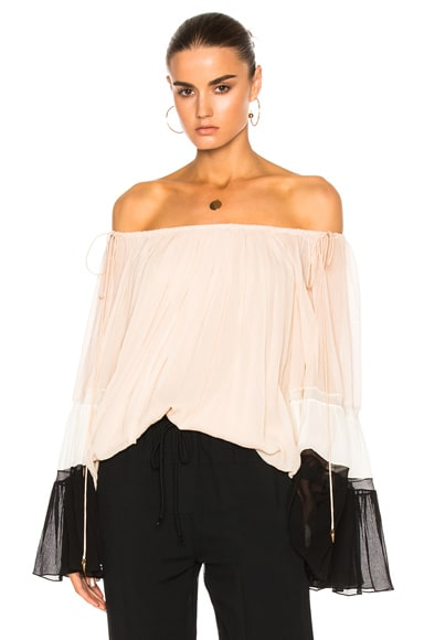 Chloe Textured Silk Crepon Off Shoulder Blouse in Cream, Black & Milk