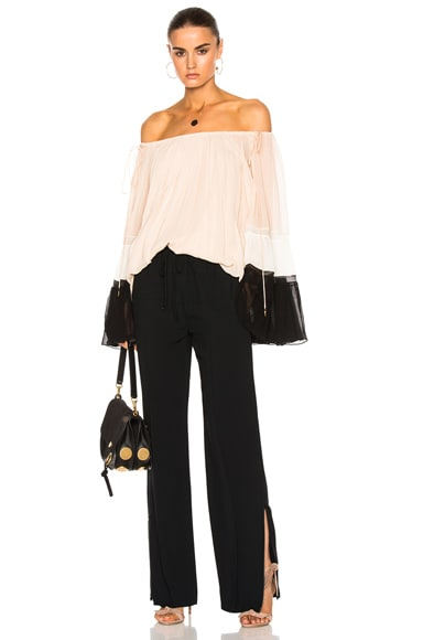 Textured Silk Crepon Off Shoulder Blouse