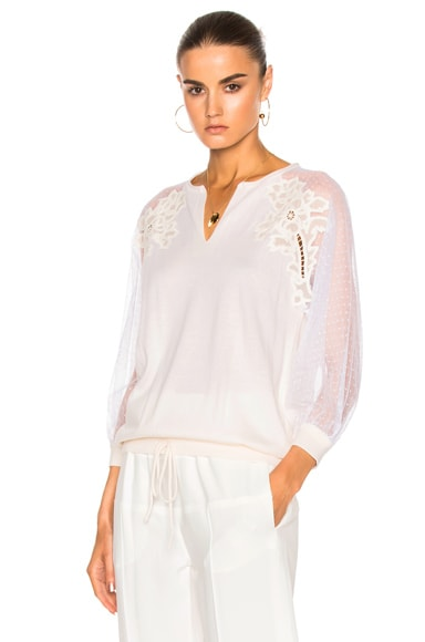 Chloe Embroidered Tulle Insert Blouse in Milk
