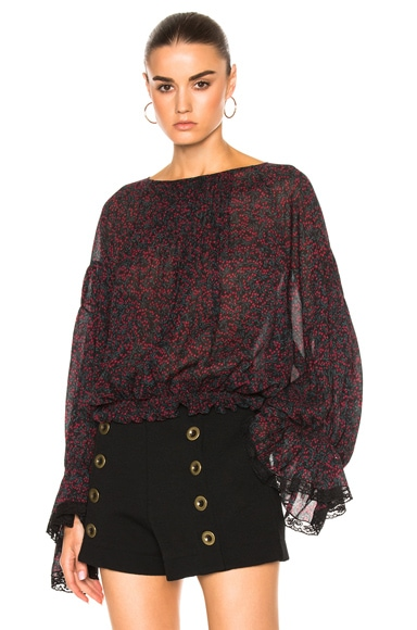 Chloe Cherry Print On Crepon Blouse in Black & Crimson