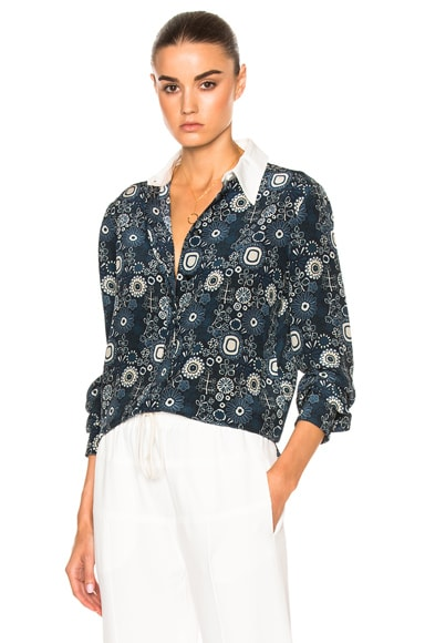 Chloe Starry Eyed Flower Print Blouse in Navy