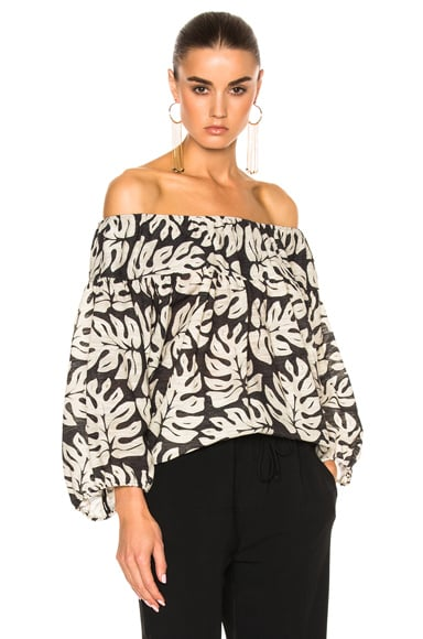Chloe Linen Printed Blouse in Palm Leaves