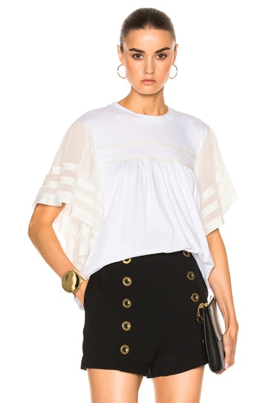 Chloe Jersey Top in Optic White