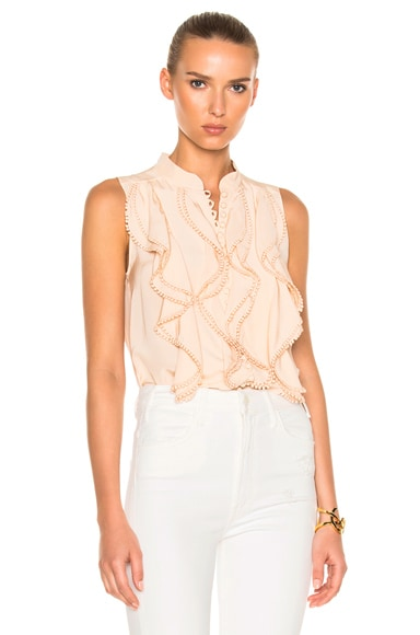 Chloe Crepe De Chine Sleeveless Blouse in Pinky Beige
