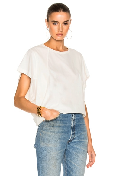 Chloe Cotton Rib Jersey Seamed T-Shirt in Milk
