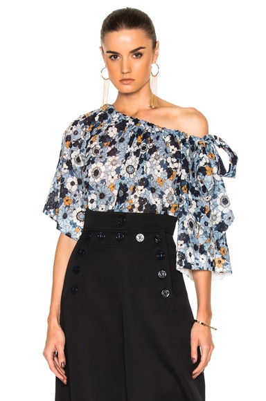 Chloe Small Flower Print Gaufre Blouse in Blue Multi