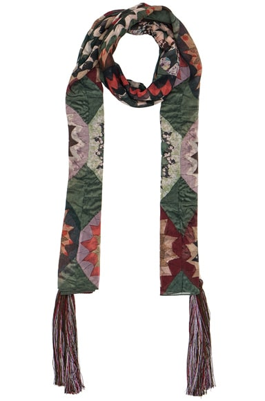 Chloe Rosace Patchwork Scarf in Green & Multi