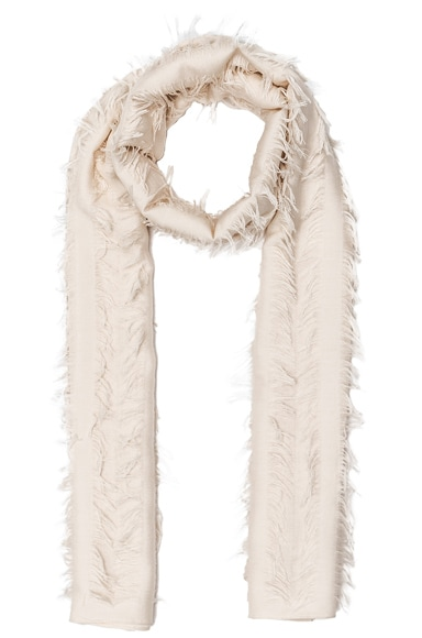 Chloe Fil Coupe Stripe Scarf in Eggshell