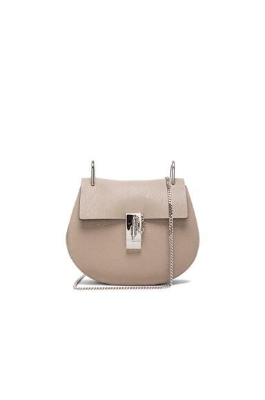 Chloe Small Drew Grain Leather & Calfskin Bag in Motty Grey