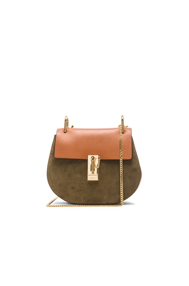 Chloe Small Drew Suede & Leather Bag in Caramel