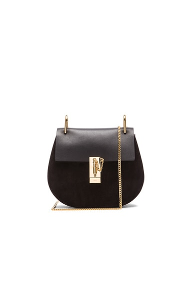Chloe Small Drew Suede & Leather Bag in Black