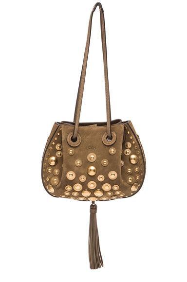 Chloe Small Studded Inez Suede Bag in Merino Grey