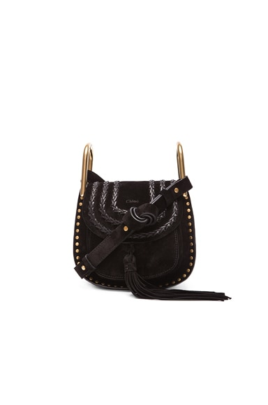 Chloe Mini Studded Suede Hudson Bag in Black