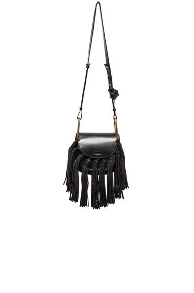 Chloe Mini Hudson Braided Leather & Suede Bag in Black