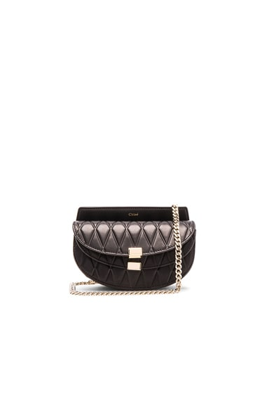 Chloe Nano Diamond Embossed Georgia Bag in Black