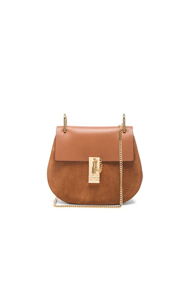 Chloe Small Calfskin & Suede Drew Bag in Caramello