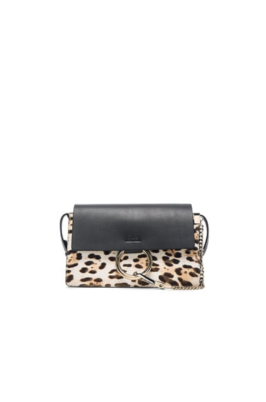 Chloe Small Leopard Print Faye Bag in Abstract White