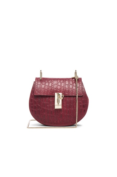 Chloe Small Croc Embossed Drew Bag in Sienna Red