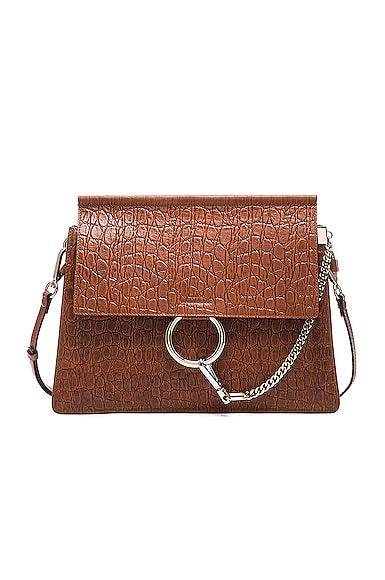 Chloe Medium Croc Embossed Faye Bag in Mahogany