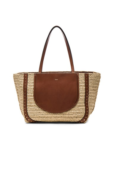 Chloe Isa Raffia Tote in Natural