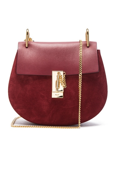Chloe Small Suede Drew Bag in Plum Purple