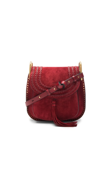 Chloe Medium Suede Hudson Bag in Sienna Red