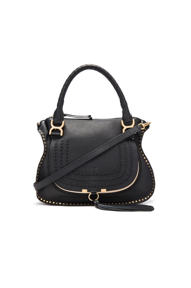 Chloe Medium Braided Leather Marci Bag in Black